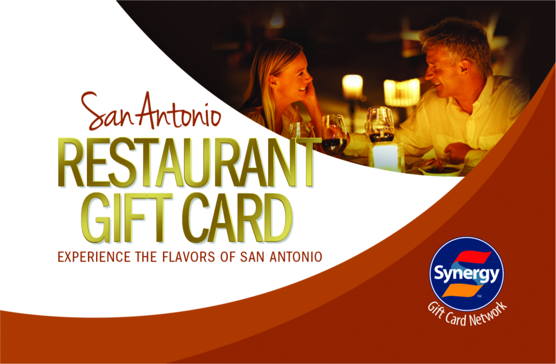 The San Antonio Gift Card is accepted at select restaurants in San Antonio. Members purchase two $50.00 Gift Cards for a discount.